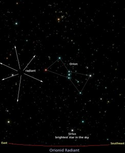 Map of Orionids - 21 & 22 October