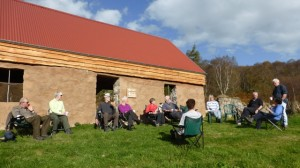 BBQ at Torroy Croft, in warm sun; photo Gavin